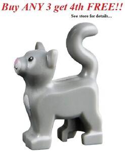 ☀️NEW Lego Friends Animal Pet Light Bluish Gray CAT Kitten Minifigure City farm