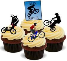 12 Novelty Cycling BMX Bike Mix Edible VANILLA WAFER CARD STAND UP Cake Toppers