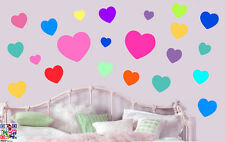 COLORATA CUORI Pastello Pacco da 22 Wall art Adesivi Peel & Stick LOVE Decalcomanie