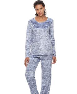 Croft & Barrow Super Soft Micro Fleece Pajama Set Blue Print Size XXL