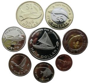 MICRONESIA 8 COINS SET 2012 SEA ANIMALS FISH SAILING BOAT BIMETALLIC UNC