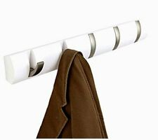 Umbra FLIP 5 Multi HOOK Wall COAT RACK with 5 Hooks - WHITE