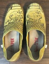 "Camper Twins Women's Sz 38 Yellow Slip-on Shoes ""Find Out The Differences"" Print"