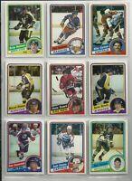 9 TOPPS 1984 HOCKEY cards NRMT DIONNE, BELLOWS, GARTNER, FRANCIS  group 1