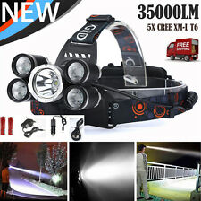 Outdoor 35000 LM 5X CREE XM-L T6 LED Rechargeable Headlamp Headlight Head Torch
