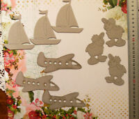 Chipboard BABY TOYS - 3 of each BOATS or AEROPLANE or SHEEP - Select Choice FST