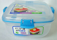 Sistema Klip It Colour Accents Salad to Go 1.1L Container  Clear with Blue Clips
