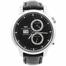 Glycine Airman 7 Black Multiple Timezones GMT Automatic Men's Watch 3919.19