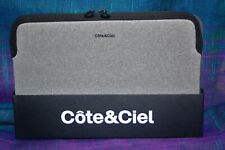 """Tech Pouch  NEW Cote & Ciel 11"""" zippered Sleeve in grey wit black zip"""
