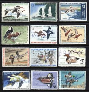 U.S. STAMPS #RW32 RW47 — (12) HUNTING PERMIT (DUCK) STAMPS 1965 USED