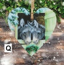 Hand-Made CHRISTMAS Wooden Decoration Hanging Hearts Gift 10cm (Many Designs)