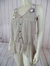 BIRD Tank Top S Taupe Sheer Cotton Textured Pullover Elastic Waist Floral HIPPIE