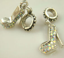 hot European Silver CZ Charm Beads Fit sterling 925 Necklace Bracelet Chain zojz