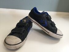 Toddler Boys Converse All Star Shoes Sneakers Black Blue With Velcro Closure