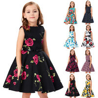 Girls Floral Dress Kids Summer Party Dresses Age 6~12 Years Swing Tea With Belt