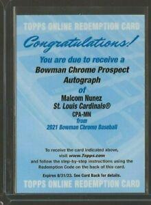 2021 Bowman Chrome Malcom Nunez Prospect Auto #CPA-MN St. Louis Cardinals