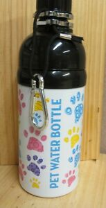 Happy Paws Dog Water Bottle,Stainless steel 16oz,Paws Print, Outdoor Spill proof