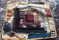 Antique Vtg Doll Quilt Primitive Distressed Cradle Bed Display Americana Prim