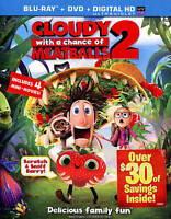 Cloudy With A Chance Of Meatballs 2 (Blu-ray,DVD-2 Disc-Set) CodyCameron-W/Slipc