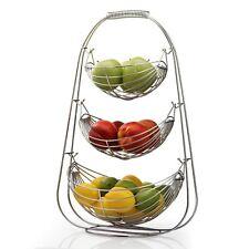 3 Tier Chrome Wire Fruit Vegetable Basket Hammock Bowl Kitchen Storage Stand New