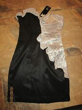 BNWT River Island Dress Size 12 £50 Silver Black Gold Ruffle Textured Wedding