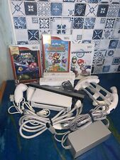 Nintendo Mario Bundle Wii White Console RVL-001 Controllers, Nunchucks & Wheels