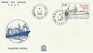 FRENCH ANTARCTIC TAAF 1983 SHIP CHALUTIER AUSTRAL FIRST DAY COVER CDS
