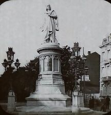 Statue of Artist Quentin Matsys, Antwerp, Belgium, Magic Lantern Glass Slide
