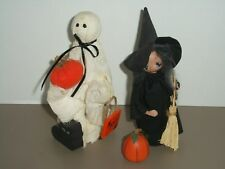 Set of 2 Miniature Handmade Halloween Figurines~Witch & Ghost