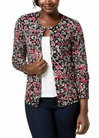 Karen Scott Floral Print Cardigan Sweater Women's Small New with Tags #12