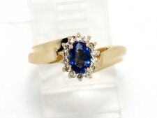 14k Yellow Gold Oval Sapphire and Round Diamond Gemstone Ring .72ct