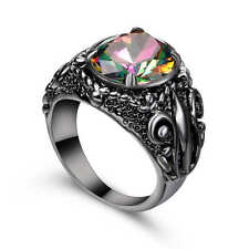 Mystic Rainbow Topaz Butterfly Wedding Ring 18k Black Gold Filled Jewelry Size 8