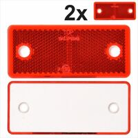 2x Rear Red Oblong Rectangular Screw on Trailer Caravan Reflectors 96x42 mm