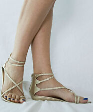 Forever 21 Womens Strappy Metallic Gladiator Flat Sandals Toe Loop Gold US 7