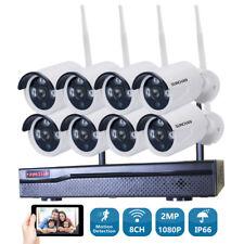 8Ch 1080P Wireless Outdoor Network Camera 2.0Mp Wifi Nvr System Cctv Kits Night