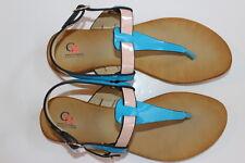 Women's T-Strap Sandal Turquoise Beige Coral Goldtone Hardware Size 8.5 NIB