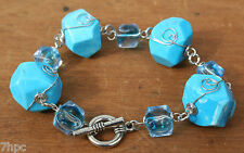 Blue Turquoise Crystal & Murano Glass Dice Bead Toggle Bracelet Reiki Blessed