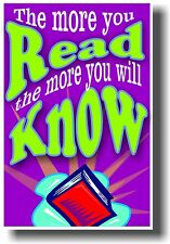 New Book Classroom Library Poster - The More You Read The More You Will Know