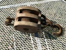 Primitive wood wooden antique pulley vintage old hardware tool with hook