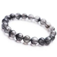 10mm Natural Black Rutilated Quartz Women Gemstone Round Beads Bracelet AAA