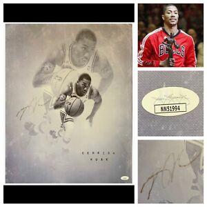 "Derrick Rose Signed 16x20"" High Quality Canvas JSA COA MVP Auto Chicago Bulls 🏆"