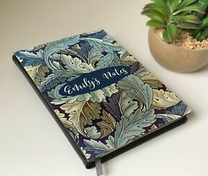Acanthus Notebook, Blue Grey Leaves,Personalised William Morris Notebook, Gift