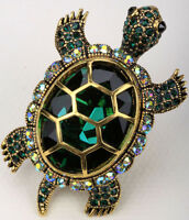 Big turtle brooch pin pendant bling jewelry gifts women her BA15 gold silver