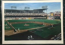 Andy Jurinko Signed Ebbets Field Baseball Lithograph Framed Yankees Dodgers /600