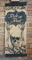 Primitive Vintage Style Skeleton Halloween Trick or Treat Burlap Home Decor Sign