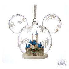 Disney Parks Mickey Mouse Icon Fantasyland Castle Glass Ornament