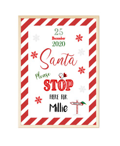 Personalised Santa Stop Here Poster Print Picture A4 PR111