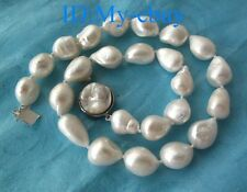 BIG White Baroque Freshwater Pearl Necklace Blister Pearl Clasp Natural