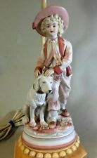 Vtg Bisque Porcelain LAMP Youth DOG GAINSBOROUGH BOY  Victorian English
