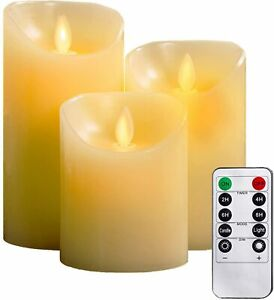 3Pcs Flameless Candles Battery Operated LED Flickering Flame Remote & Timer Gift